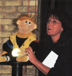 Sue's Shows - Sue with Scooter at Adult Birthday Party Psychic Show